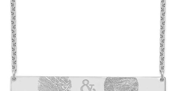 Two Fingerprint Bar Pendant