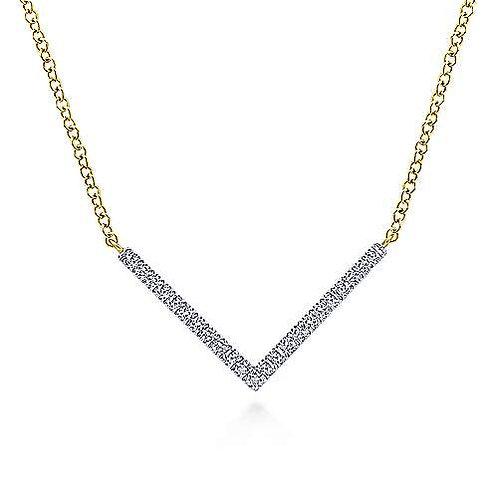 "Gabriel & Co.- Diamond ""V"" Necklace"