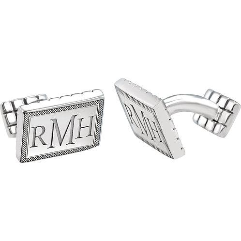 Rectangular Checkered Border Monogram Cuff Links