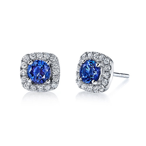 MARS Fine Jewelry - Blue Sapphire Halo Earrings