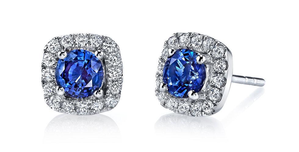MARS Fine Jewelry - Blue Sapphire Halo Earrings