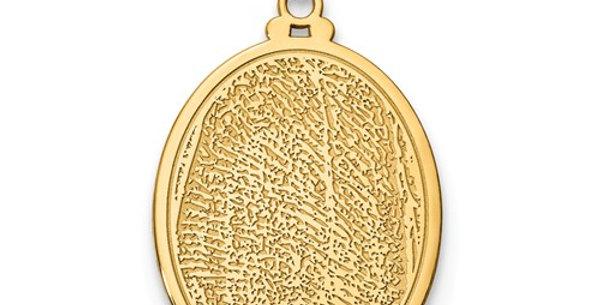 Large Oval Fingerprint Pendant