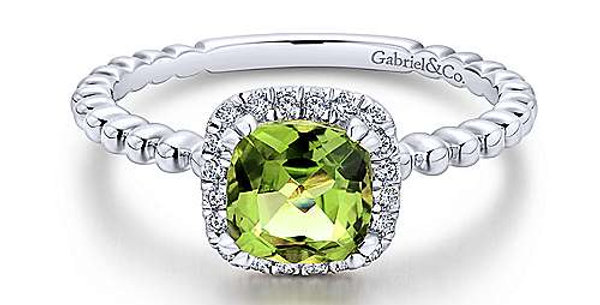 Gabriel & Co. - Peridot & Diamond Ring