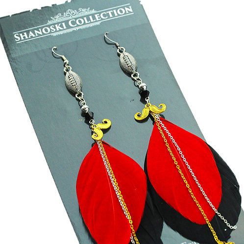 Small Red and Black Feather Earrings with Football Charm