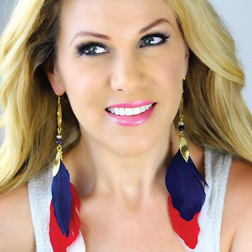 4th July Red,White and Blue Feather Earrings