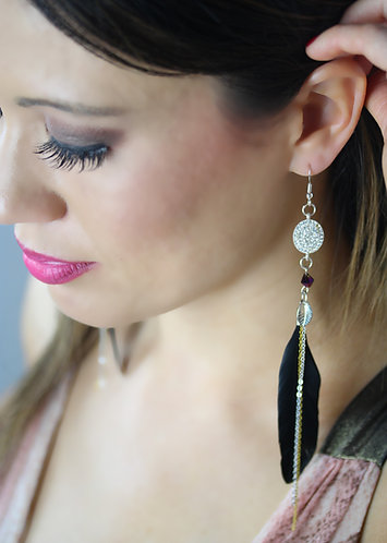 Princess Charm with Midnight Black Feathers Small