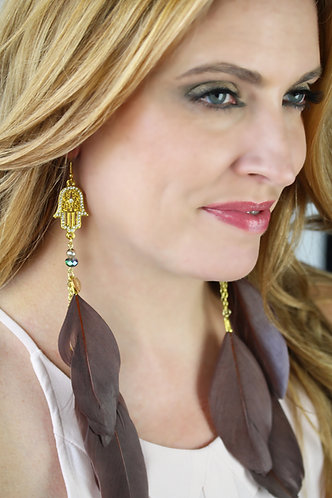 Fatima Charm with Divine Brown Feathers Long