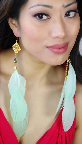Fire Fly Charm with Pastel Mint Feathers Long