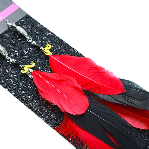 Long Red and Black Feather Earrings with Football Charm