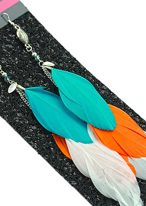 Long Teal, White and Orange Feathers with Football Charm