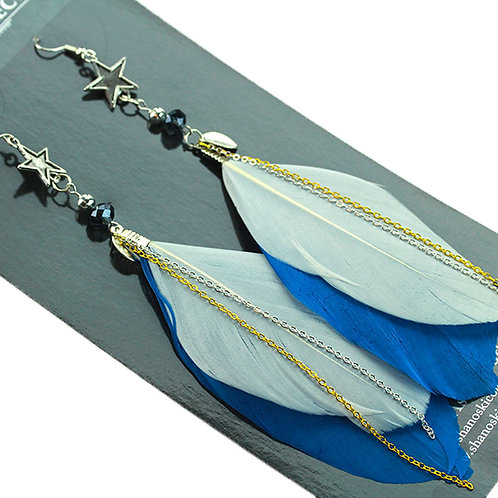 Small Blue and White Feather Earrings with All Star Charm