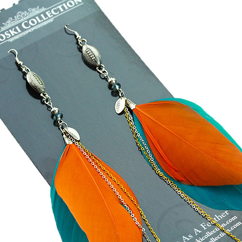 Small Teal and Orange Feather Earrings with Football Charm
