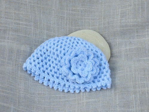 Bonnet de naissance Fleur Bleue