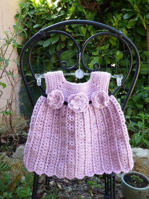 Robe layette parme pour Petite Fille Sage - 0/3 mois
