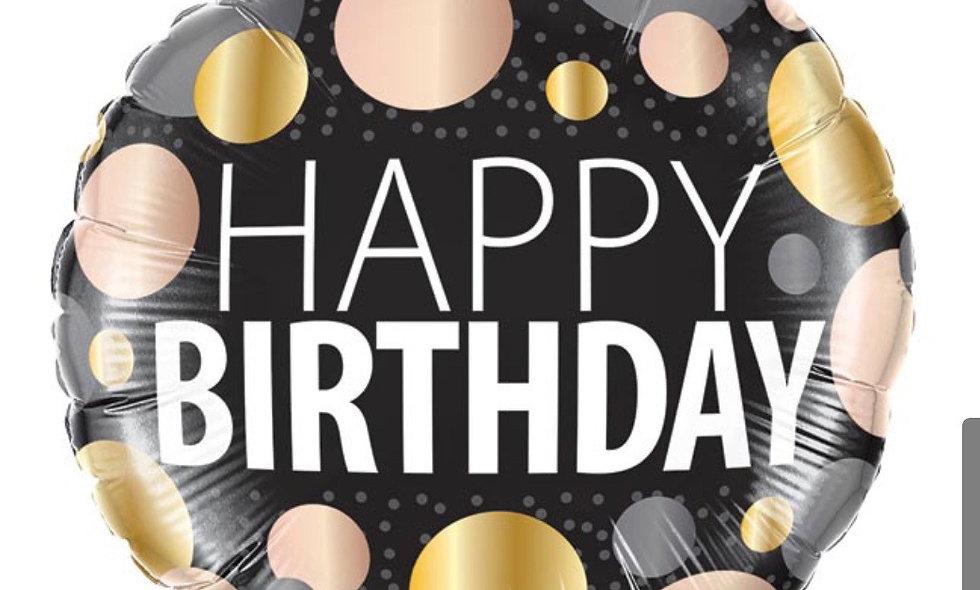 18in packaged metallic dot happy birthday