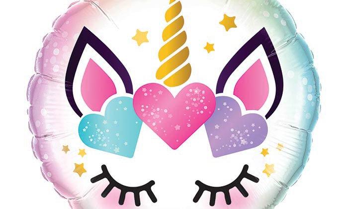 18in pkg unicorn with eyelashes balloon