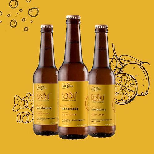 Ginger Lemon KoBu - Pack of 3 Kombuchas
