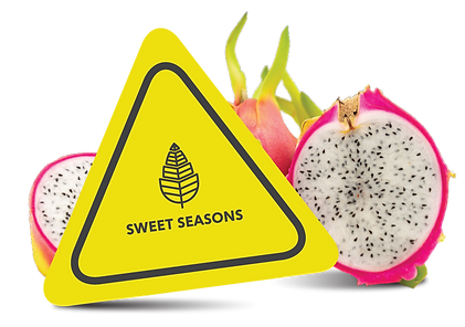 Construction sign next to a pink dragonfruit