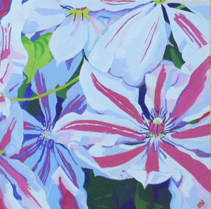"""Clematis - Oil on canvas, 12"""" x 12"""" - $250"""
