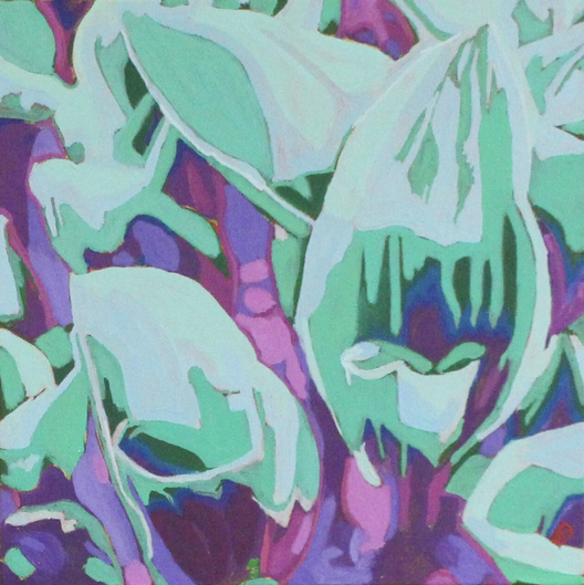 "Hostas - Oil on canvas, 12"" x 12"" - $250."