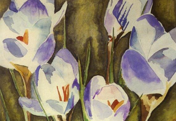 Blue Pearl Crocus - Watercolor