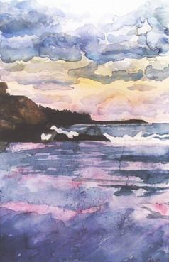 York Evening Water - Watercolor