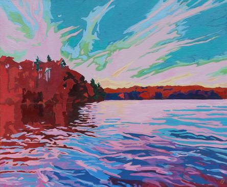 "Lake Sky - Oil on canvas, 24"" x 20"", $850."