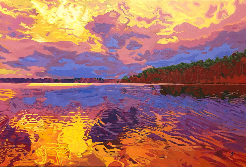 "Lakerise - For sale at Artisans Way - Oil on canvas, 36"" x 24"" - $2,500."