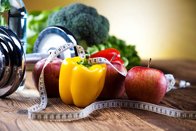 fruits and vegetables with a tape measure