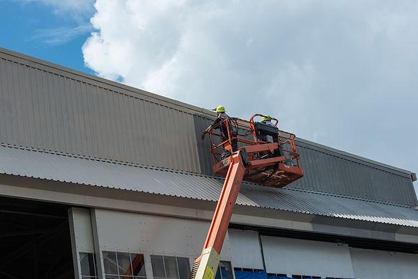 augusta aviation, daniel field airport, repainting hangar