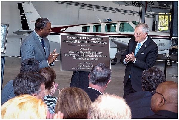 hangar door dedication refurbish daniel field airport augusta aviation, governor Nathan Deal, Mayor Hardie Davis