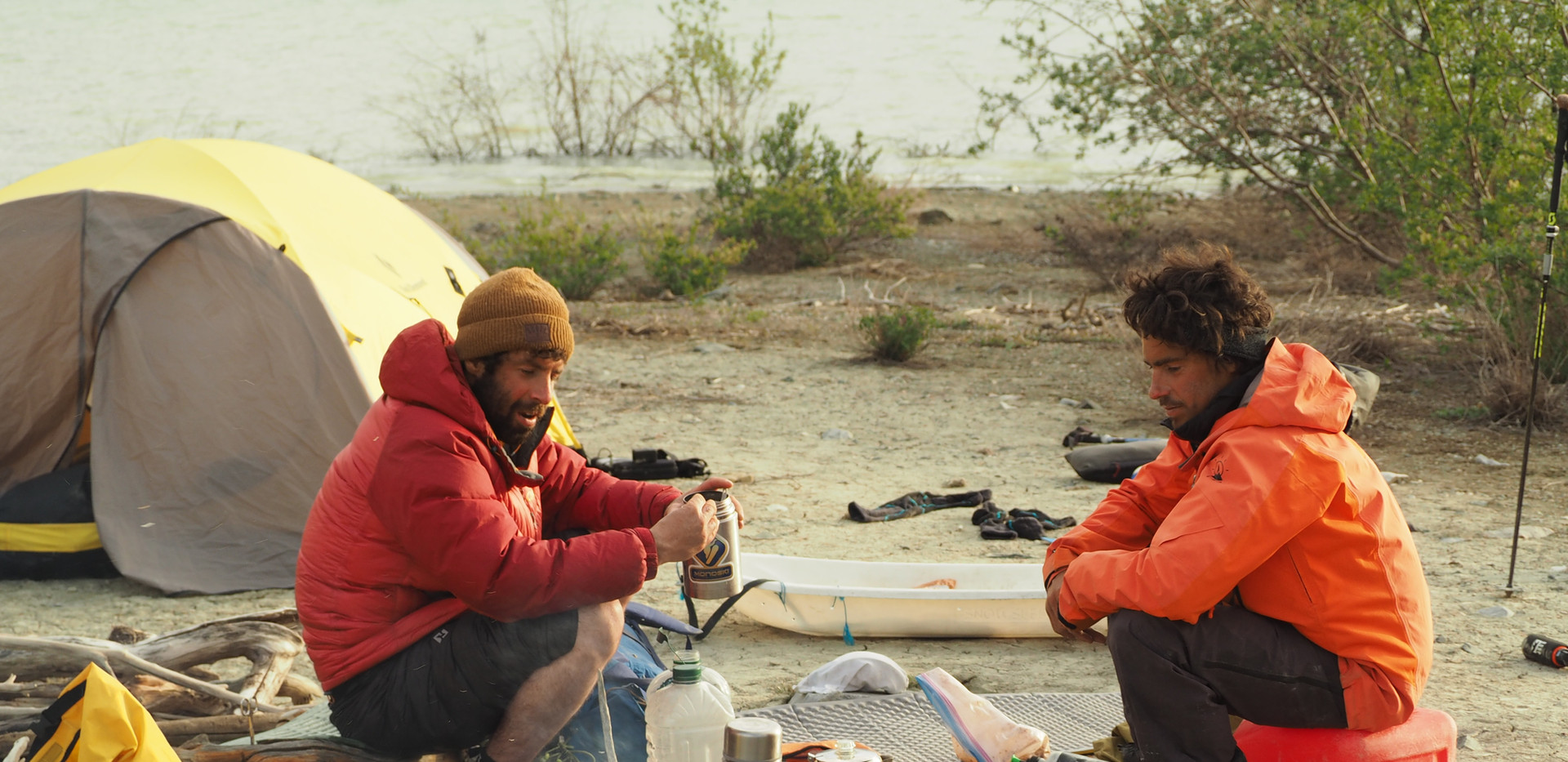 Camping on the shore of an unnamed lake