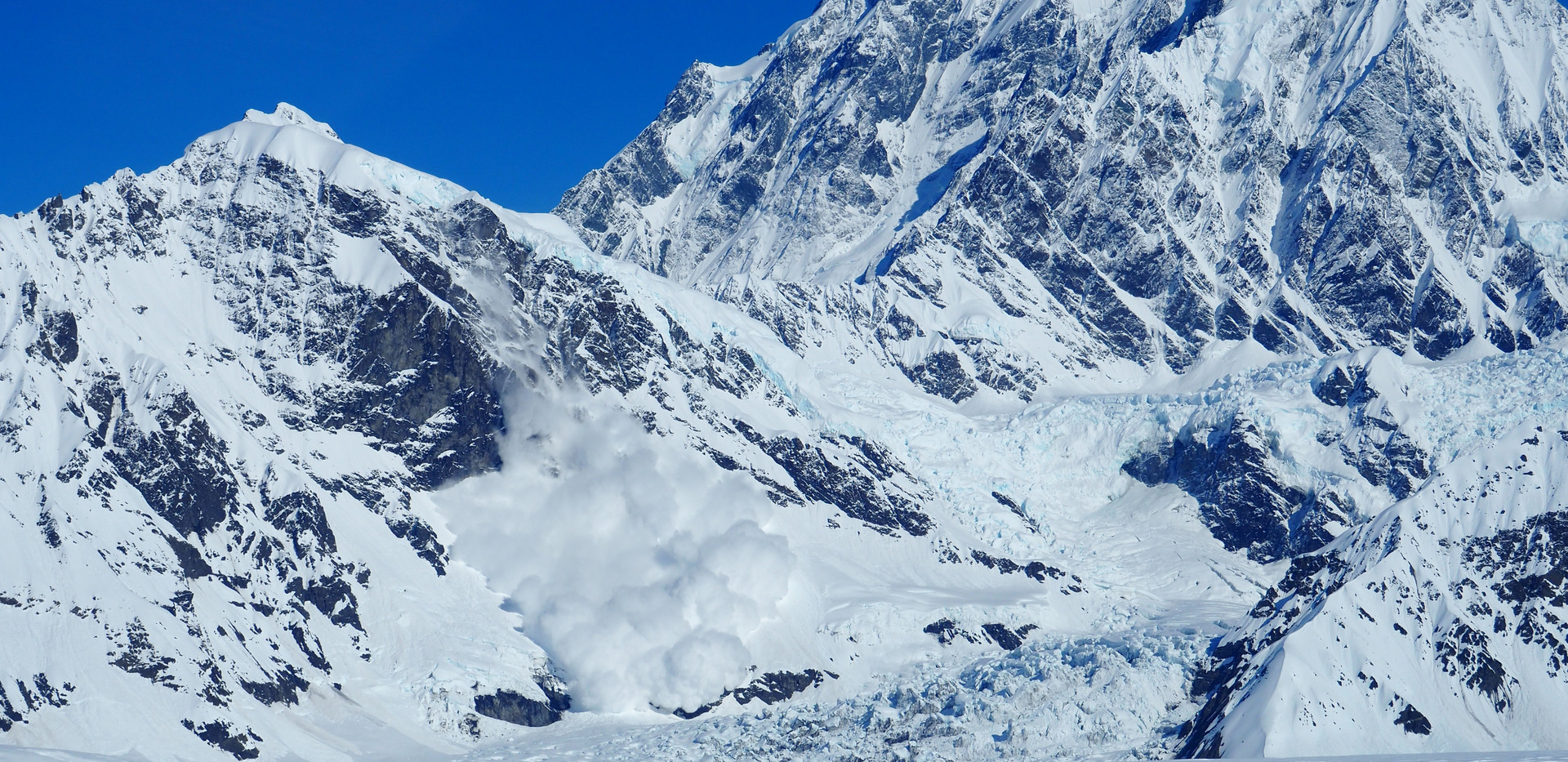 Mt Augusta and on avalanche on a satellite peak