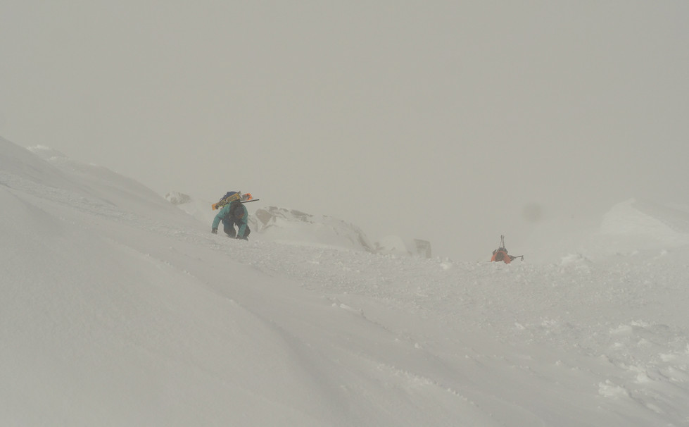 Climbing the last slopes before the summit