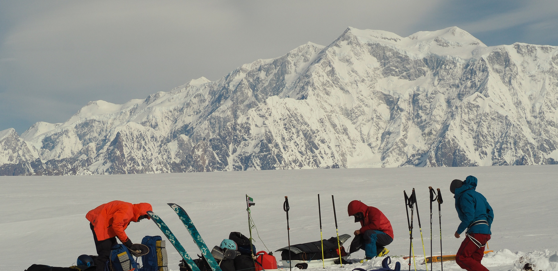 Packing camp in front of Mt Cook