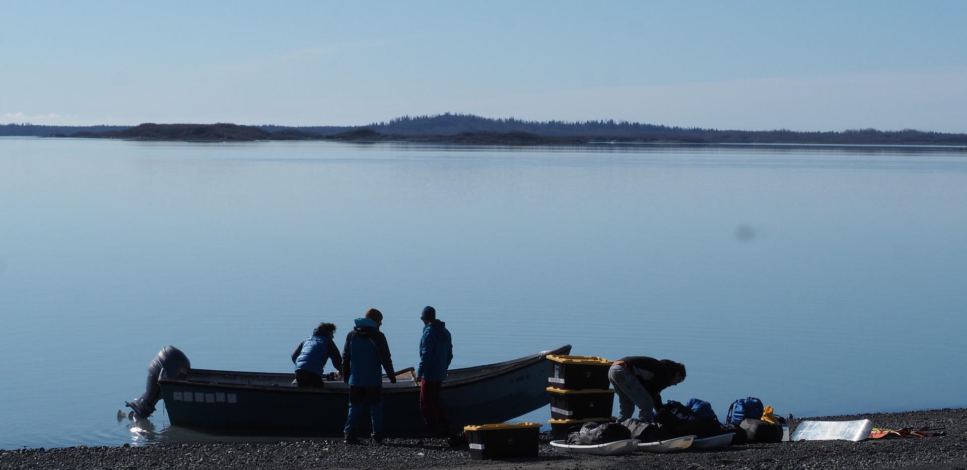 Unloading the boat, Malaspina Lake