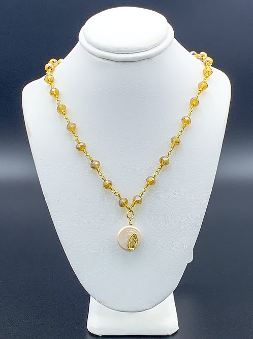 Gold Beaded Lady of Guadalupe Necklace