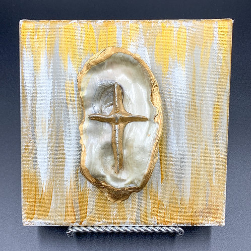 Mini Mother of Pearl with Gold Clay Cross