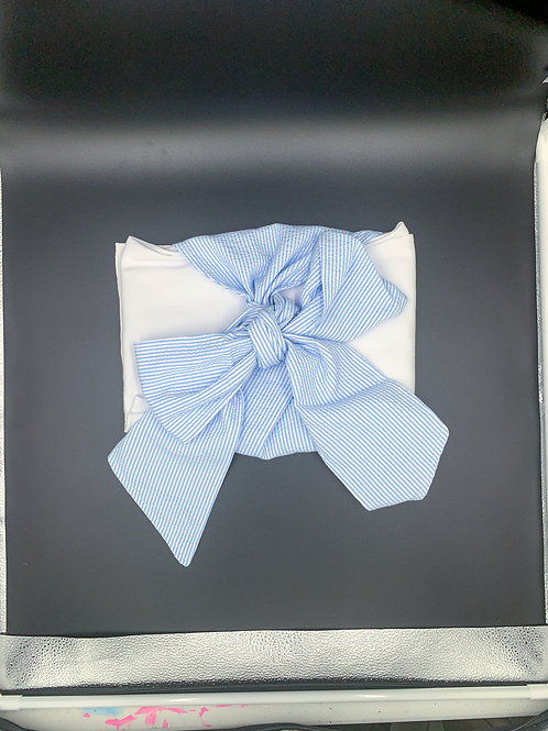 Swaddler with Blue Striped Bow