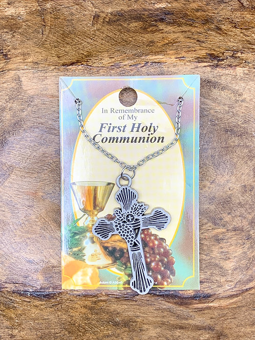 First Holy Communion Silver Metal Cross