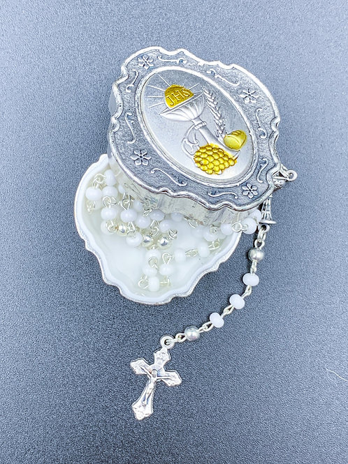 First Communion Rosary with Storage Box