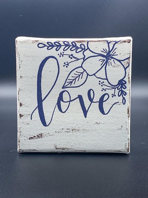 """Mini White & Blue """"love"""""""