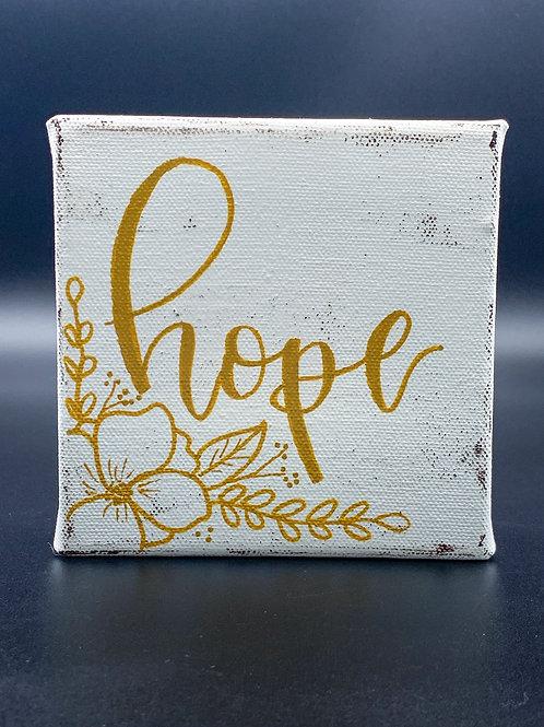 """Mini White & Gold """"hope"""""""
