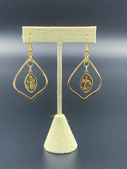 Gold Dove and Cross Earrings