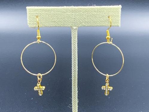 Gold Jeweled Cross Earrings