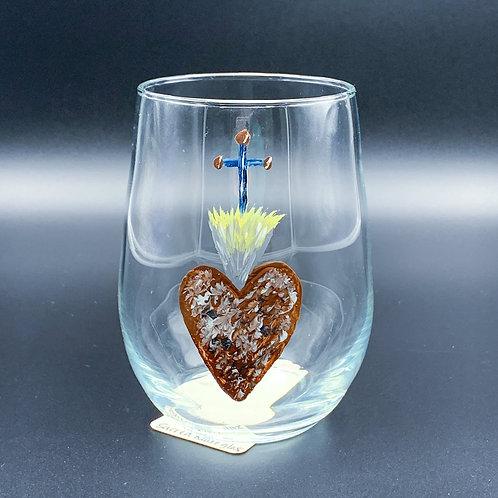 Hand Painted Heart & Cross Glass