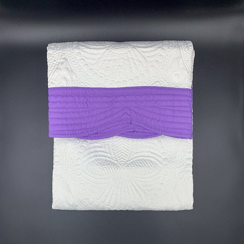 White Baby Heirloom Quilt with Violet Trim
