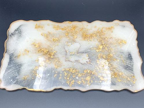 White & Gold Resin Trey