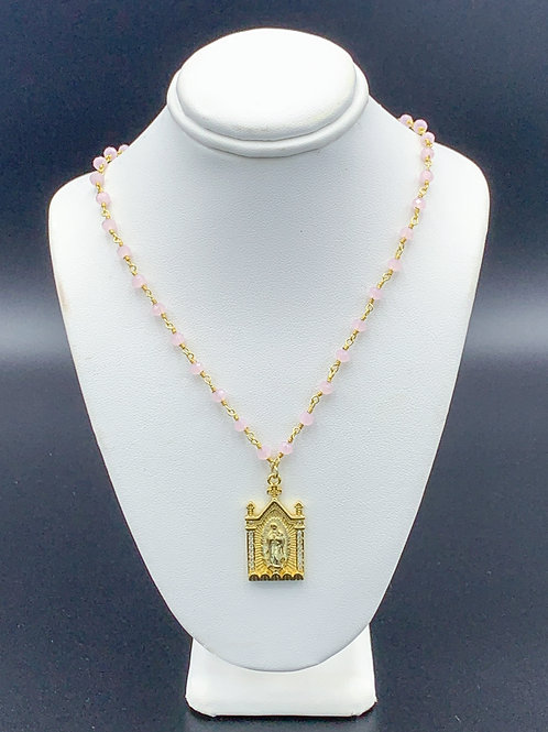 Pink Beaded Lady of Guadalupe Necklace
