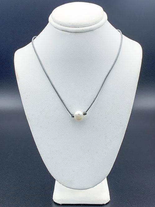 Adult Metallic Grey Pearl Necklace